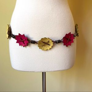 Accessories - Carved Wooden Flower and Silky Boho Belt